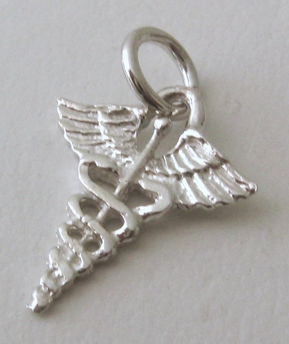 925 Sterling Silver Caduceus Charm and Pendant