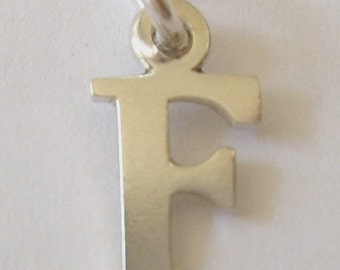 Genuine SOLID 925 STERLING SILVER 3D Initial F Letter Pendant