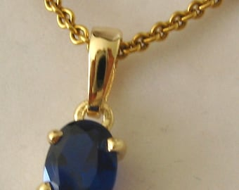 Genuine SOLID 9K 9ct YELLOW GOLD September Birthstone Sapphire Pendant