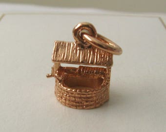 Genuine SOLID 9K 9ct ROSE GOLD 3D Wishing Well charm/pendant
