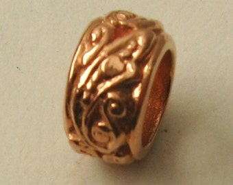 Genuine SOLID 9K 9ct ROSE GOLD Charm Serenity Ornate Bead