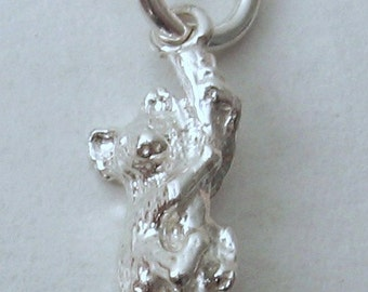 Genuine SOLID 925 STERLING SILVER 3D Koala Australian Animal charm/pendant