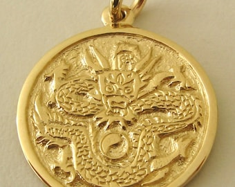 Genuine SOLID 9K 9ct YELLOW GOLD Dragon  Pendant
