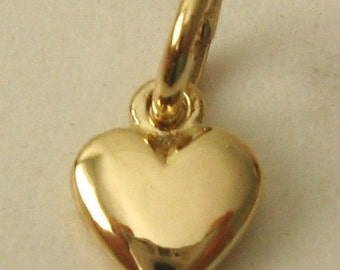 Genuine SOLID 9K 9ct YELLOW GOLD 3D Small Love Heart Valentine charm/pendant