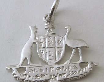 Genuine SOLID 925 STERLING SILVER Australian Coat of Arms charm/pendant