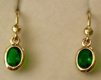 Genuine SOLID 9K 9ct YELLOW GOLD May Birthstone Emerald Dangle Drop Earrings