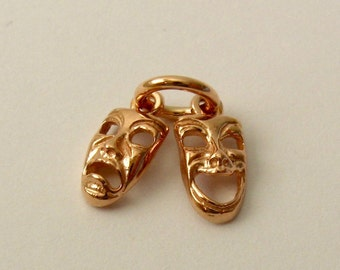 Genuine SOLID 9K 9ct ROSE GOLD 3D Comedy and Tragedy Theatrical Masks Performance charm/pendant
