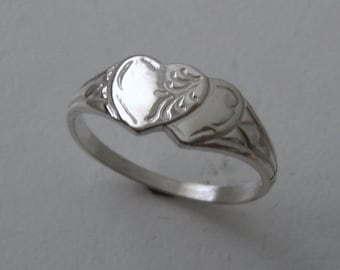 Genuine SOLID 925 Sterling Silver Double Heart Signet Ring Size J/5 to Q/8.5 Same Price