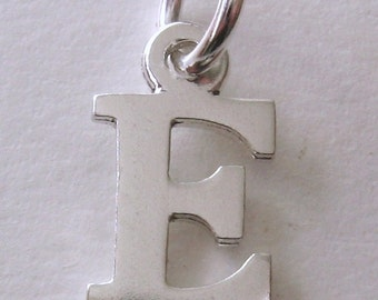 Genuine SOLID 925 STERLING SILVER 3D Initial E Letter Pendant