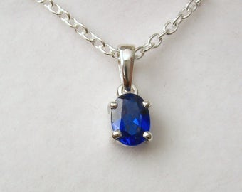 Genuine SOLID 925 STERLING SILVER September Birthstone Sapphire Pendant