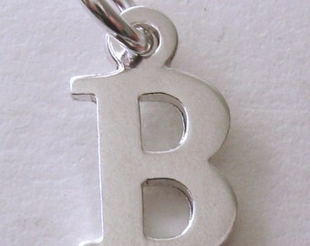Genuine SOLID 925 STERLING SILVER 3D Initial B Letter Pendant