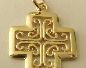 Genuine SOLID 9ct YELLOW GOLD Celtic Keltic Cross Pendant