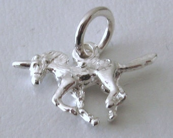 Genuine SOLID 925 STERLING SILVER Unicorn charm/pendant