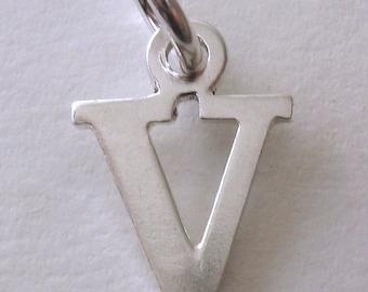 Genuine SOLID 925 STERLING SILVER 3D Initial V Letter Pendant