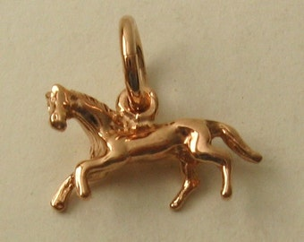 Genuine SOLID 9K 9ct ROSE GOLD 3D Horse Animal Racing charm/pendant