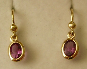 Genuine SOLID 9K 9ct YELLOW GOLD February Birthstone Amethyst Dangle Drop Earrings