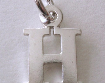 Genuine SOLID 925 STERLING SILVER 3D Initial H Letter Pendant