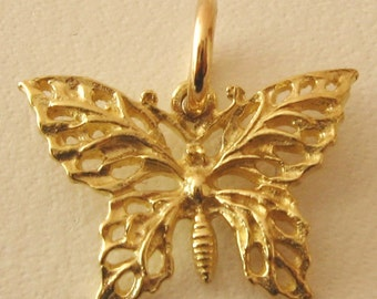 Genuine SOLID 9K 9ct YELLOW GOLD 3D Filigree Butterfly charm/pendant