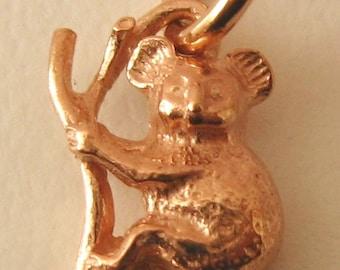 Genuine SOLID 9K 9ct ROSE GOLD 3D Koala on a Branch Australian Animal charm/pendant