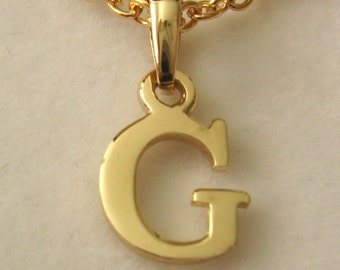Genuine SOLID 9K 9ct YELLOW GOLD 3D Initial G Letter Pendant