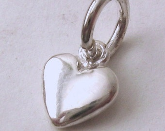 Genuine SOLID 925 STERLING SILVER 3D Small Love Heart charm/pendant