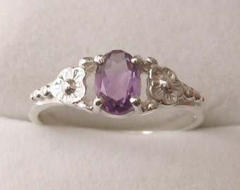 Genuine SOLID 925 Sterling Silver Natural Amethyst Daisy Dress Ring L/6 to P/8 Same Price