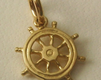 Genuine SOLID 9K 9ct YELLOW GOLD 3D Ship Wheel Helm charm/pendant