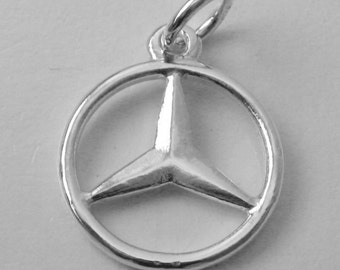 15 mm Genuine SOLID 925 STERLING SILVER 3D Mercedes Benz Sign Logo Car charm/pendant