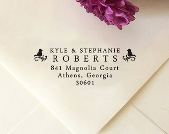 Return Address Stamp, Custom Address Stamp, Self-Inking Stamp, Wooden Address Stamp, Birds Family Address Stamp, Personalized Wedding Stamp