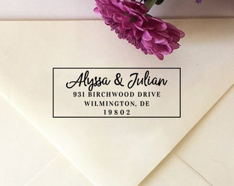 Return Address Stamp, Personalized Wedding Stamp, Custom Address Stamp, Self Inking Stamp, Wooden Stamp, Bridal Shower Gift