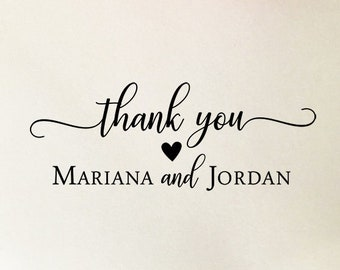 Personalized Thank You Stamp, Custom Wedding Stamp, Wooden or Self Inking Stamp, Thank You Cards Stamp, Engagement Stamp with Names