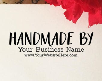 Handmade By Stamp, Custom Handmade By Wood Stamp, Etsy Stamp with Website, Business Name Stamp, Personalized Name Stamp, Crafter Stamp