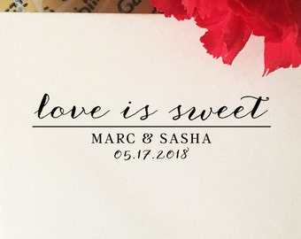 Love Is Sweet Wedding Stamp, Custom Wedding Favors Stamp, Wooden Stamp, Eco Rubber Stamp, Personalized Love Is Sweet Stamp