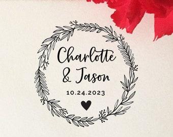 Wedding Monogram Stamp Rustic Initial Stamp Leaves Save the Date Stamp Floral Wedding Favor Stamp T347 Custom Wedding Logo Stamp