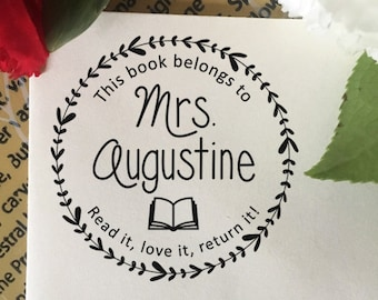 This Book Belongs To Stamp, Read it, Love it, Return it Stamp, Teacher Name Stamp, Wooden or Self Inking Stamp, Classroom Book Stamp Gift