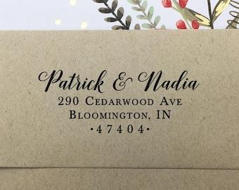 Return Address Stamp, Self Inking Return Address Stamp, Custom Wedding Stamp, Wooden Stamp, Rubber Stamp, Personalized Couples Names Stamp