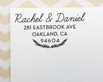 Custom Return Address Stamp, Wedding Address Stamp, Self-Inking Stamp, Wooden Stamp, Rubber Stamp, Leafy Address Stamp for Wedding Invites