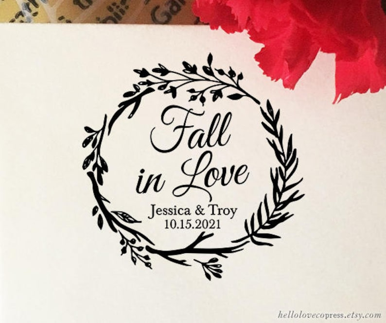 Fall In Love Stamp Wedding Favor Self Inking Wooden