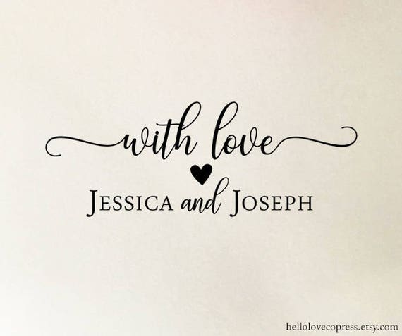 Personalized With Love Stamp Custom Wedding Wooden Or