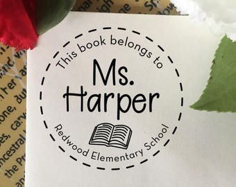 This Book Belongs To Stamp, Library Stamp, Classroom Book Stamp, Self Inking Stamp, Rubber Stamp, Custom Teacher Name Stamp, Librarian Stamp