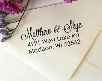 Custom Wedding Address Stamp, Return Address Stamp, Self-Inking Stamp, Wooden Stamp, Rubber Stamp, Personalized Stamp for Wedding Invites