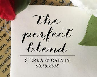 The Perfect Blend Stamp, Custom Wedding Favor Stamp, Couple Stamp, Calligraphy Wood Stamp, Coffee Favor, Personalized Wedding Favor Stamp