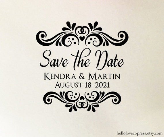 Save The Date Stamp Personalized Wedding Eco Friendly