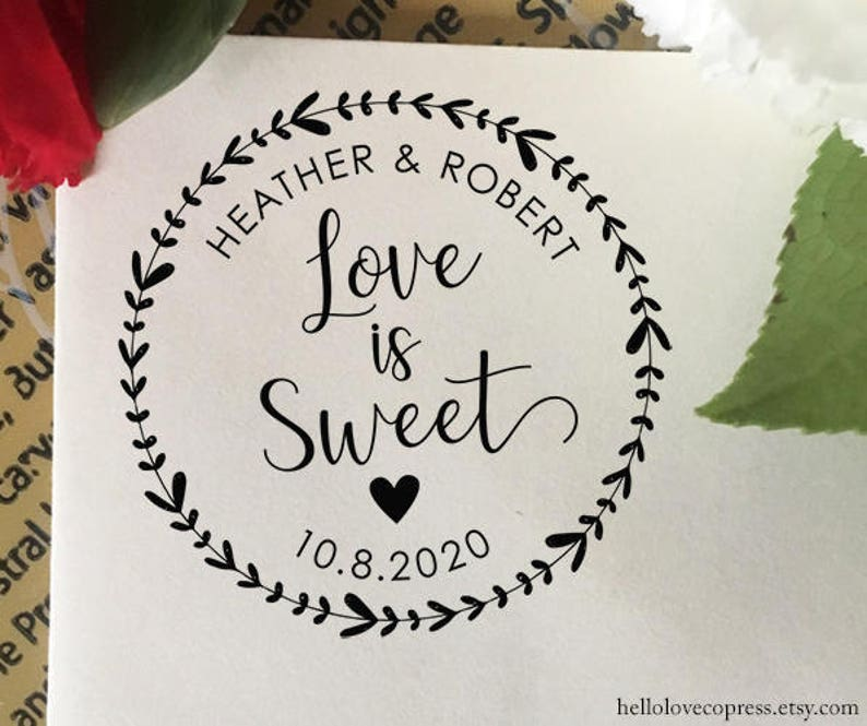 353ba165527e3 Love is Sweet Stamp, Wedding Favor Stamp, Self Inking Stamp, Wood Stamp,  Custom Wedding Stamp, Personalized Stamp, Candy Bar, Floral Wreath
