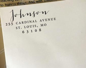 Address Stamp, Custom Return Address Stamp, Self-Inking Stamp, Wooden Stamp, Rubber Stamp, Personalized Address Stamp, Wedding Script Stamp