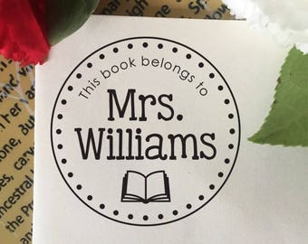 This Book Belongs To Stamp, Library Stamp, Book Stamp, Self Inking Stamp, Rubber Stamp, Custom Teacher Name Stamp, Librarian Stamp