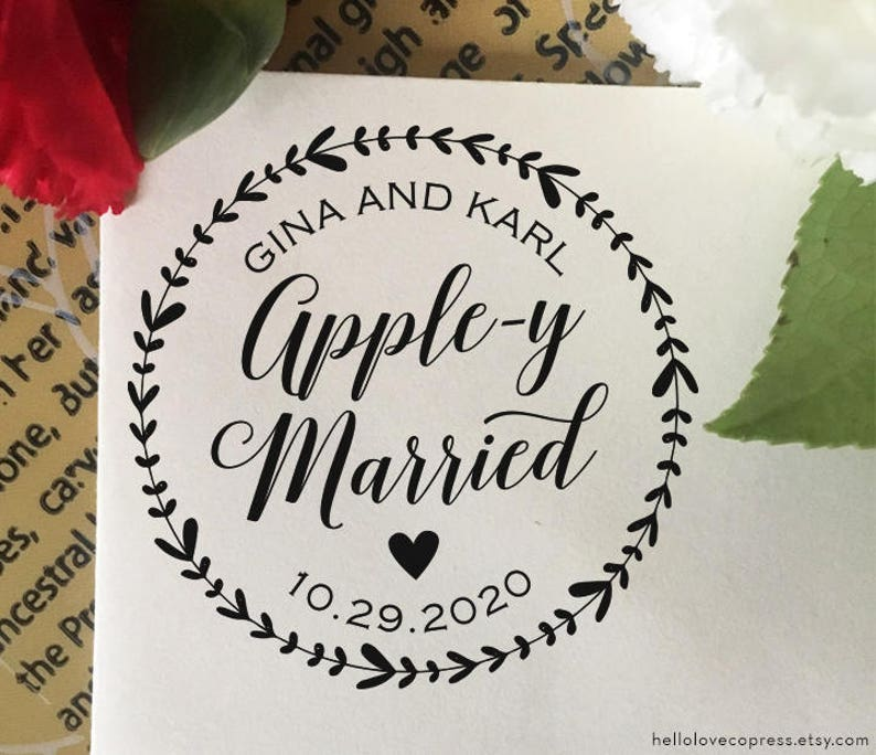 Apple Y Married Wedding Stamp Custom Favor