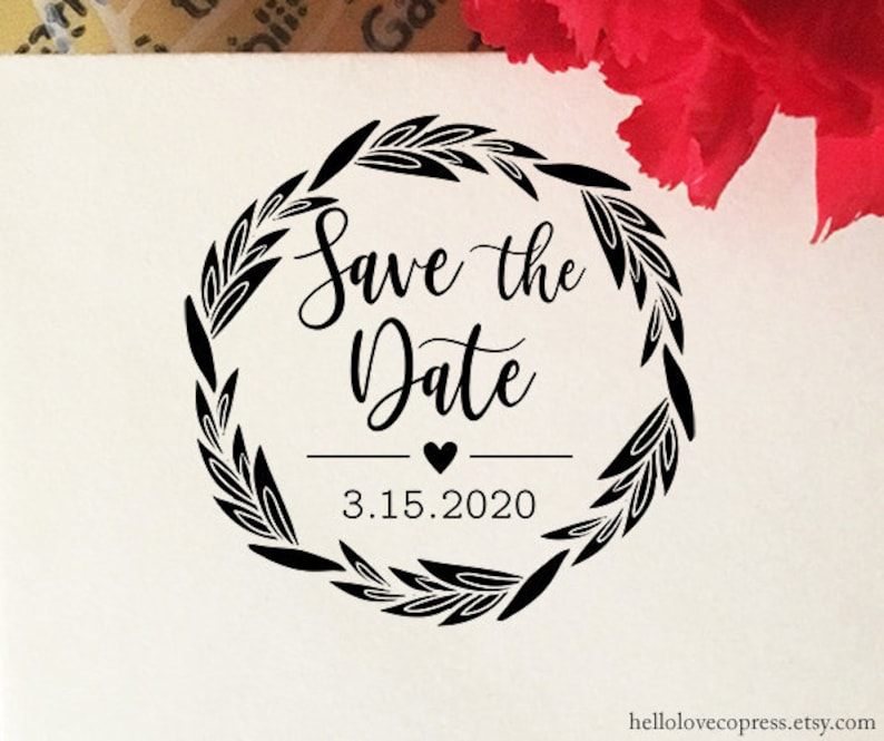 Save The Date Stamp Wedding Engagement Personalized