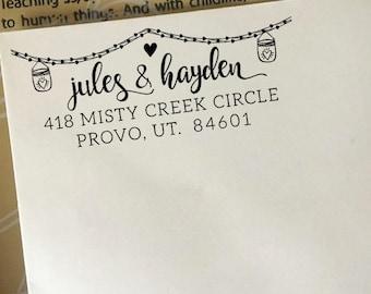 Return Address Stamp, Custom Address Stamp, Wedding Address Stamp, Self-Inking Stamp, Eco Wooden Rubber Stamp, Rustic Wedding