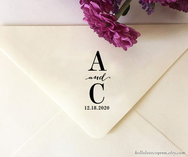 Custom Initials Stamp Wedding With And Date